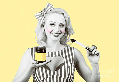 Woman Serving Retro Product. Vintage Advertisement Print by Jorgo Photography - Wall Art Gallery
