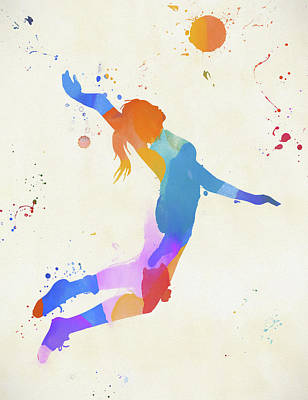 Sports Paintings - Woman Serving Volleyball by Dan Sproul