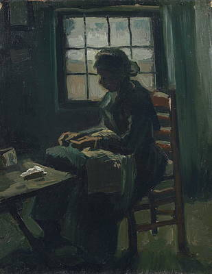 Dressmaker Painting - Woman Sewing, 1885 01 by Vincent Van Gogh