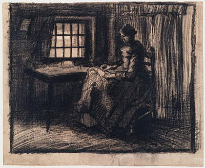 Homemade Quilts Painting - Woman Sewing, 1885 02 by Vincent Van Gogh