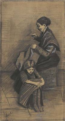 Painting - Woman Sewing, With A Girl The Hague, March 1883 Vincent Van Gogh 1853 - 1890 by Artistic Panda
