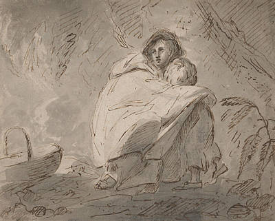 Drawing - Woman Sheltering A Child In A Landscape by Treasury Classics Art