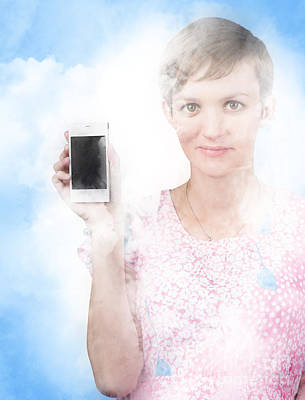 Photograph - Woman Showing Mobile Smartphone In Clouds by Jorgo Photography - Wall Art Gallery