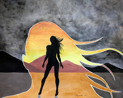 Squat Painting - Woman Silhouette by Edwin Alverio