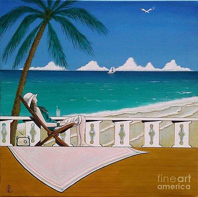 Painting - Woman Sitting In Deck Chair Basking In The Tropical View by John Lyes