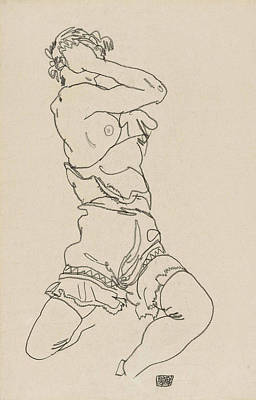 Drawing - Woman Sitting On Her Heel by Egon Schiele