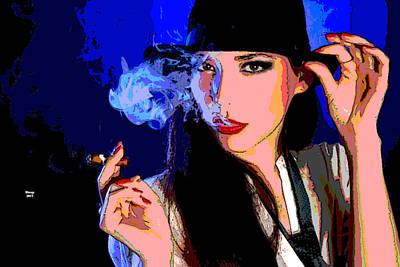 Mixed Media - Woman Smoking A Cigar by Charles Shoup