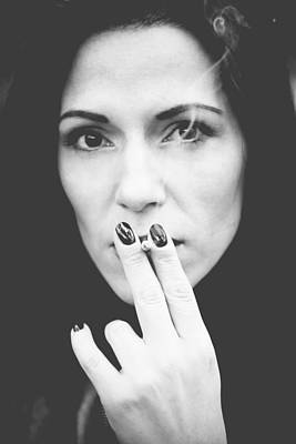 Photograph - Woman Smoking In Park by Newnow Photography By Vera Cepic