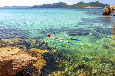 Woman Snorkeling Greece Art Print