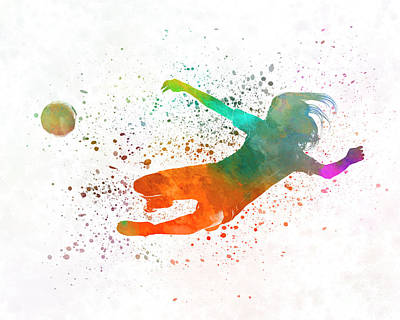 Women Soccer Painting - Woman Soccer 14 In Watercolor by Pablo Romero