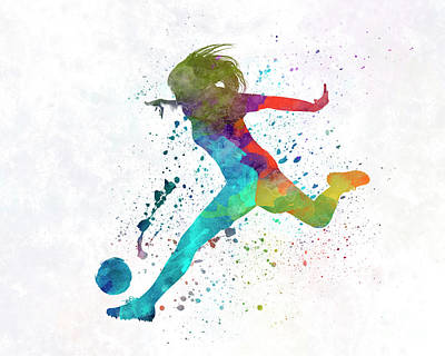 Women Soccer Painting - Woman Soccer Player 01 In Watercolor by Pablo Romero
