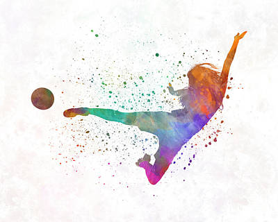 Women Soccer Painting - Woman Soccer Player 02 In Watercolor by Pablo Romero
