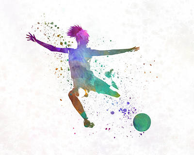 Women Soccer Painting - Woman Soccer Player 03 In Watercolor by Pablo Romero