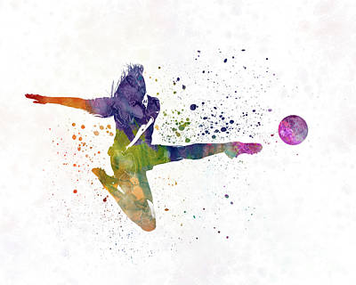 Women Soccer Painting - Woman Soccer Player 04 In Watercolor by Pablo Romero