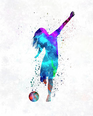 Women Soccer Painting - Woman Soccer Player 05 In Watercolor by Pablo Romero