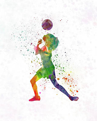 Women Soccer Painting - Woman Soccer Player 06 In Watercolor by Pablo Romero