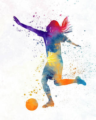 Women Soccer Painting - Woman Soccer Player 07 In Watercolor by Pablo Romero