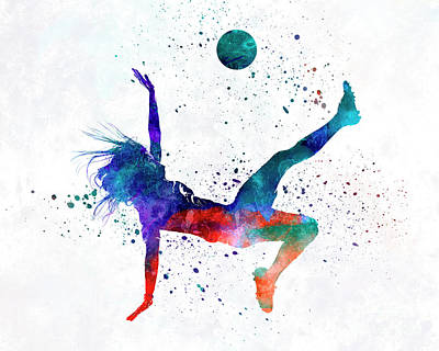 Women Soccer Painting - Woman Soccer Player 08 In Watercolor by Pablo Romero