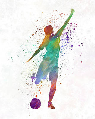 Women Soccer Painting - Woman Soccer Player 09 In Watercolor by Pablo Romero
