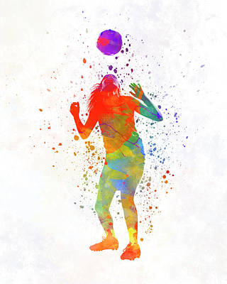 Women Soccer Painting - Woman Soccer Player 13 In Watercolor by Pablo Romero