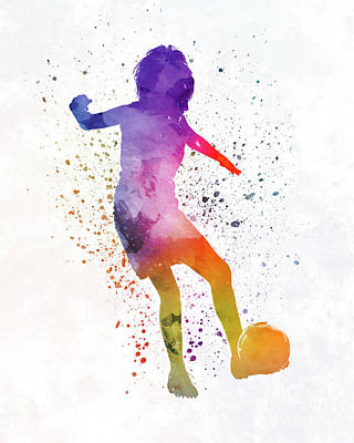 Women Soccer Painting - Woman Soccer Player 15 In Watercolor by Pablo Romero