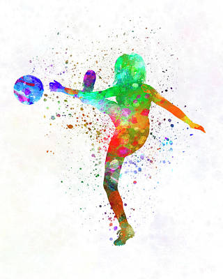 Women Soccer Painting - Woman Soccer Player 17 In Watercolor by Pablo Romero