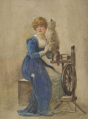 Painting - Woman Spinning, 1908, England, By John Parker by Celestial Images