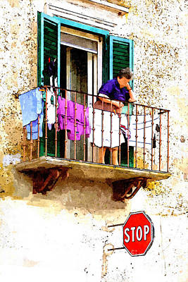 Painting - Woman Spreads Clothes On The Balcony With Street Sign by Giuseppe Cocco