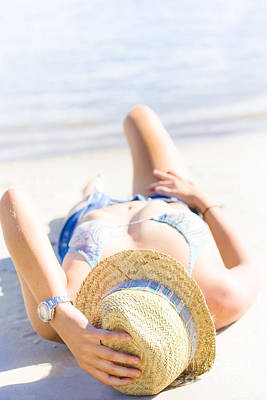 Woman Sunbathing Art Print by Jorgo Photography - Wall Art Gallery