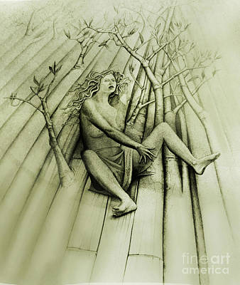 Wall Art - Drawing - Woman Surprised By A Sprouting Floor by Carole Lindberg