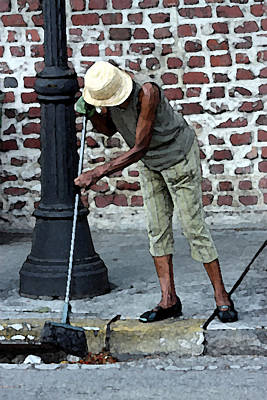 Hemingway House Wall Art - Digital Art - Woman Sweeping Sidewalk In Key West by Christopher Purcell