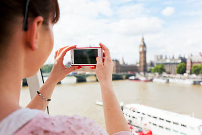Photograph - Woman Taking Pictures Of Big Ben, London Uk With Smartphone, Mobile by Michal Bednarek