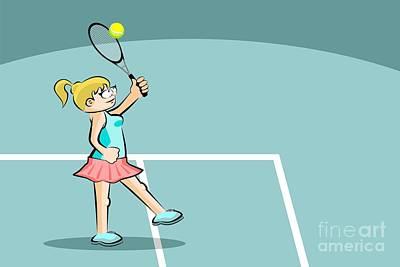 Child Digital Art - Woman Tennis Player Raises Her Racket To Hit Tennis Ball by Daniel Ghioldi