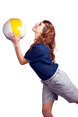Woman Throwing Beach Ball On White Background Art Print