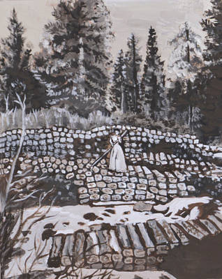 Painting - Woman Tie Hack Historical Vignette From River Mural by Dawn Senior-Trask