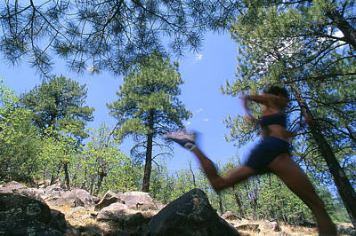 San Francisco Peaks Photograph - Woman Trail Running In Mountains by Kate Thompson