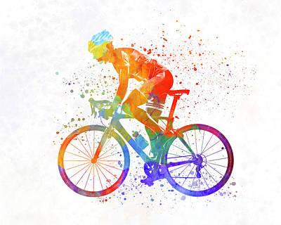 Triathlon Painting - Woman Triathlon Cycling 01 by Pablo Romero