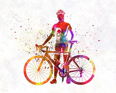 Cycles Painting - Woman Triathlon Cycling 02 by Pablo Romero