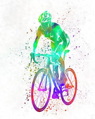 Ironman Painting - Woman Triathlon Cycling 05 by Pablo Romero