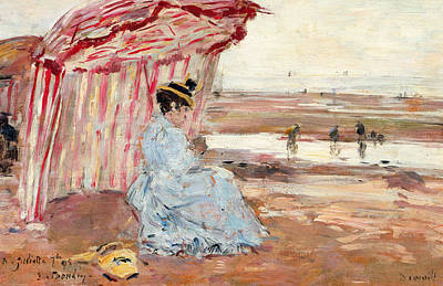 Woman Under Beach Umbrella Print by Eugene Louis Boudin