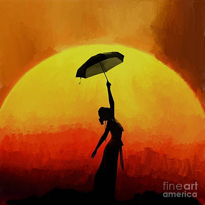 Passionate Painting - Woman Under Umbrella 02 by Gull G