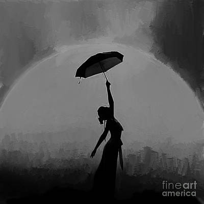 Figure Painting - Woman Under Umbrella  by Gull G