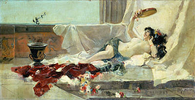 Amphora Painting - Woman Undressed by Joaquin Sorolla y Bastida