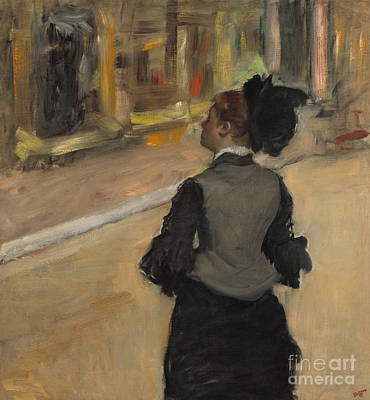 Woman Viewed From Behind, Visit To The Museum Print by Edgar Degas