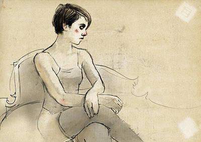 Woman Waiting Art Print by H James Hoff