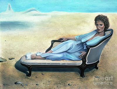 Wall Art - Painting - Woman Waiting In A Dry River Bed by Carole Lindberg