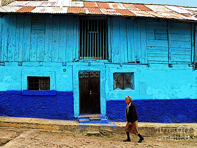 Woman Walking By The Blue House Art Print by Mexicolors Art Photography
