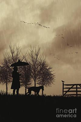 Woman Walking Dog Art Print by Amanda Elwell