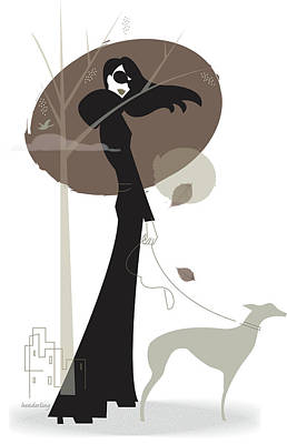Walking Dog Digital Art - Woman Walking Dog by Lisa Henderling