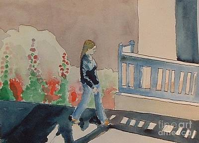 Painting - Woman Walking Down Nusbaum Street by Paul Thompson